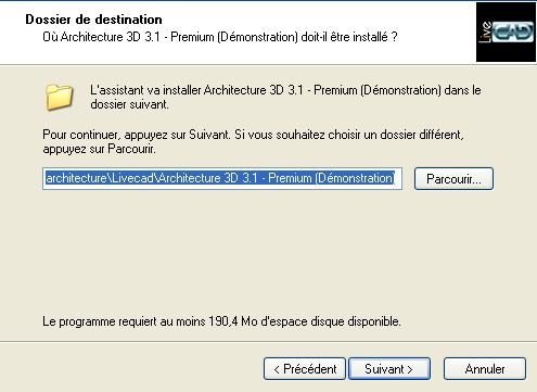 pas à pas installation Architecture 3D de Livecad